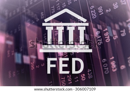 "Building icon with inscription ""Fed"". Financial data on computer  screen. Multiple exposure - stock photo"