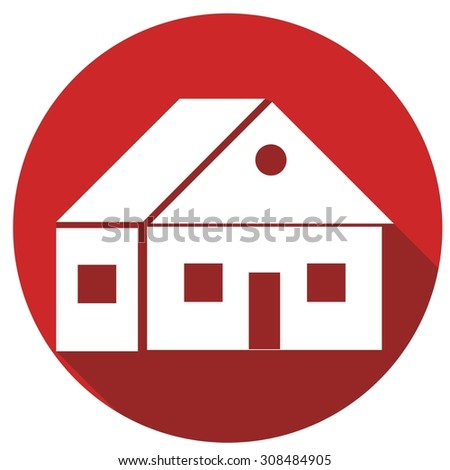 building icon with long shadow - stock photo
