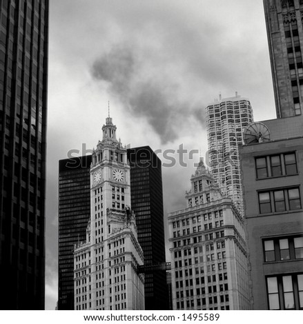 Building in black and white - stock photo