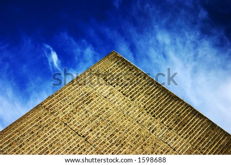 Building in front of a deep blue sky