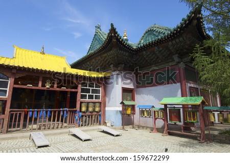 Building in Gandantegchenling Monastery, Ulan Bator, Mongolia - stock photo