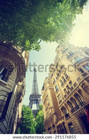 building in Paris near Eiffel Tower - stock photo