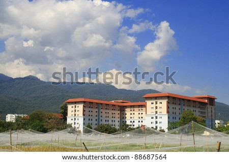 building in research rice field - stock photo