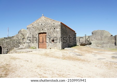Building in ruins of castle Monsanto - the most Portuguese village of Portugal - stock photo