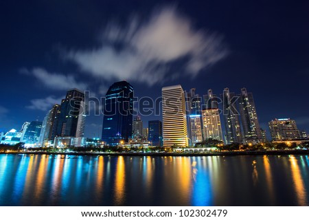 Building in Thailand panorama view at night with office building in Benjakitti garden