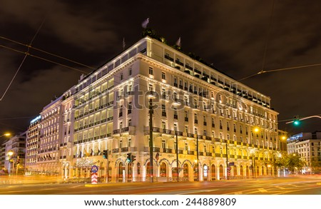Building in the city center of Athens decorated for Christmas - stock photo