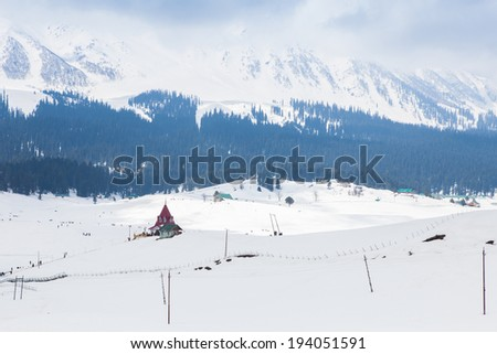 Building in the middle of Himalaya mountains (Gulmarg, Kashmir, India)