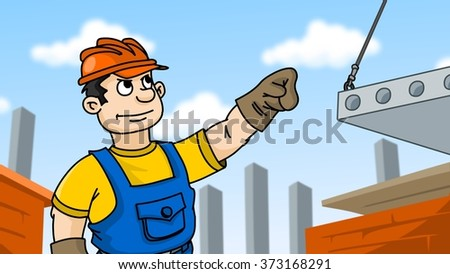 building, industry, technology and people concept - builder in hardhat at construction site. Cartoon illustration. - stock photo