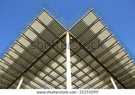 Building integrated photovoltaic - shading system - stock photo