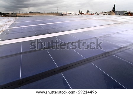 Building integrated photovoltaics - roofing - stock photo