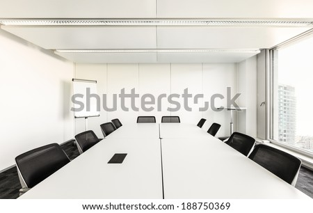 Building, interior, empty meeting room - stock photo