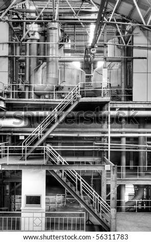 Building interior structure of old factory in black and white. - stock photo