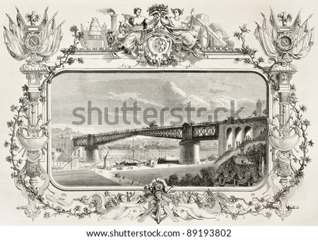 Building iron bridge in Brest, old illustration. Created by Reiber, published on L'Illustration, Journal Universel, Paris, 1858 - stock photo