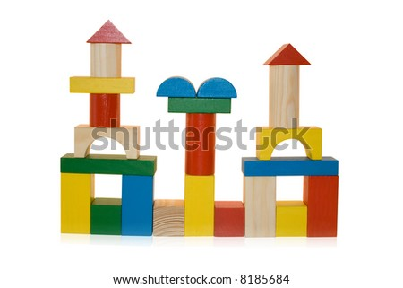 building made by wooden blocks,isolated - stock photo