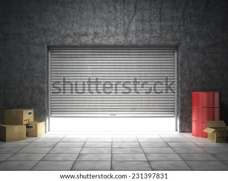 Building made of concrete with roller shutter door - stock photo