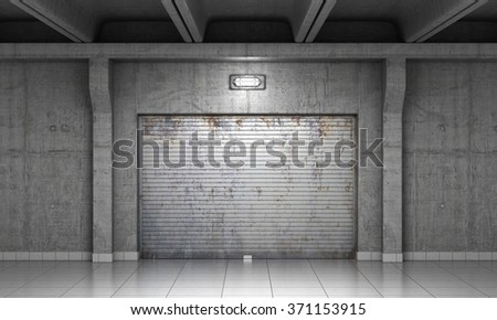 Building made of concrete with roller shutter door. - stock photo