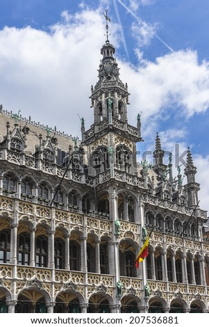 Building Maison du Roi (King's House, 1887) on Grand Place square (Grote Markt). Brussels, Belgium. Now this building houses Museum of the City of Brussels (Museum van de Stad Brussel). - stock photo