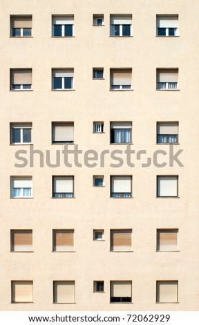 Building / Many Windows on residential building / Windows / Barcelona,Spain - stock photo