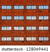 Building / Many Windows on residential building / Windows / Italy - stock photo