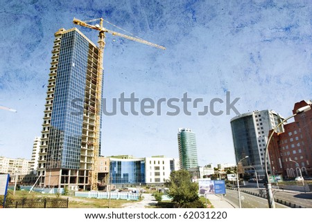 Building of a modern building - stock photo