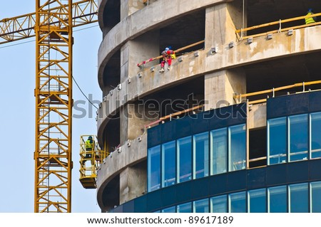 Building of a skyscraper, Skytower, Wroclaw, Poland - stock photo