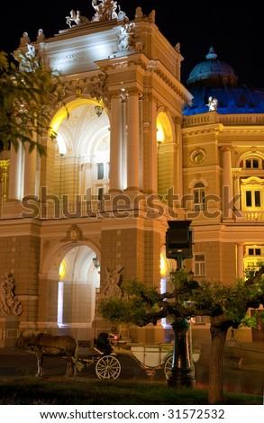 Building of an opera. Exterior opera theatre. Odessa. Ukraine - stock photo