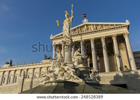 Building of Austrian parliament in Vienna - stock photo