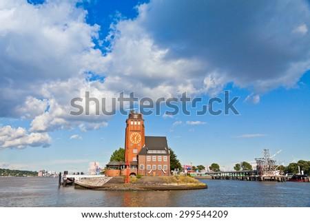 Building of Hamburg Harbour Pilots Association (German: Lotsenhaus Seemannshoft) at the entrance to the port of Hamburg on Elbe river, Germany - stock photo