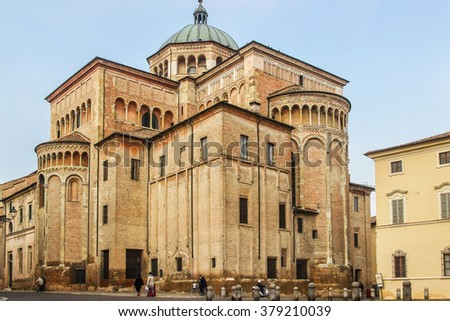 Building of old historical Duomo cathedral in Parma, Italy. - stock photo