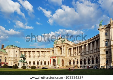 Building of the Austrian National Library under picturesque cloudy sky. Hofburg complex, Vienna, Austria. - stock photo
