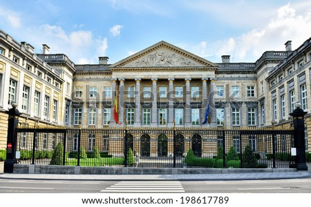 Building of The Belgian Federal Parliament or Palace of The Nation in Brussels, Belgium - stock photo
