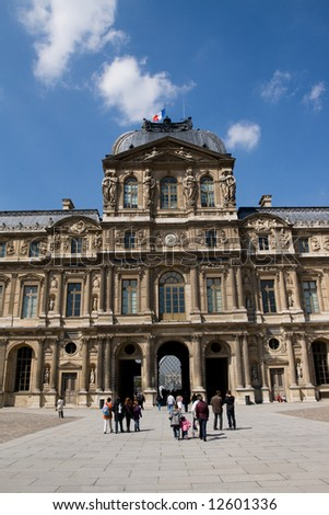 Building of the Louvre Museum in Paris, France - stock photo