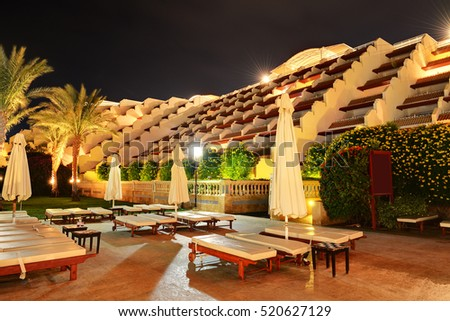 Building of the luxury hotel in night illumination, Sharm el Sheikh, Egypt
