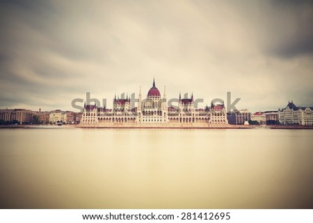 Building of the Parliament in Budapest, Hungary - stock photo
