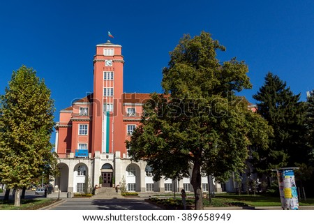 Building of Town Hall in the center of City of Pleven, Bulgaria - stock photo