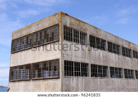 building on Alcatraz Island - stock photo