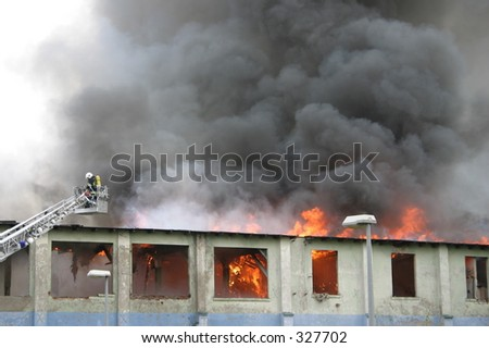 building on fire, - stock photo