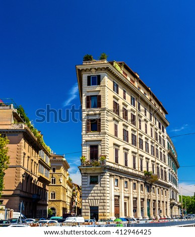 Building on Lungotevere Prati in Rome - Italy - stock photo