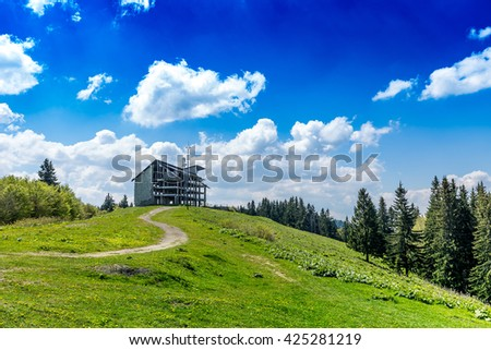 Building on the hill it was left unfinished - stock photo