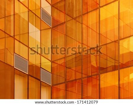 Building orange  reflections - stock photo