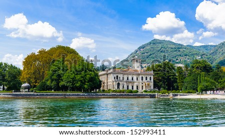 Building over the Lake Como, Lombardy, Italy.