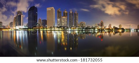 Building panorama in Thailand - stock photo