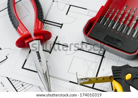 Building plan with selection of construction tools