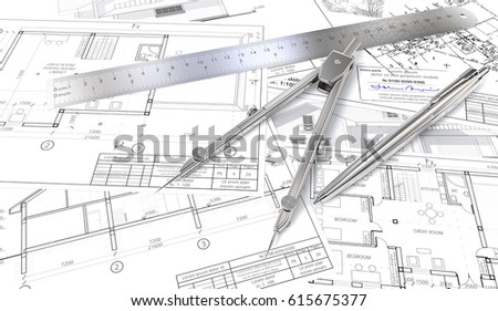 Generic Architectural Blueprints, Drawings And Sketches. Ruler, Pen And  Divider