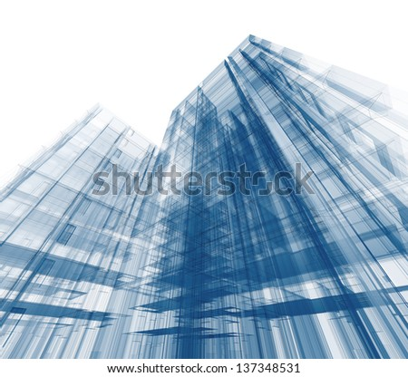Building project. Design and 3d model my own - stock photo