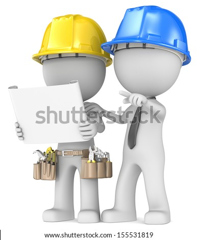 Building project planning. Dude the Builder with contractor looking at blueprint. - stock photo