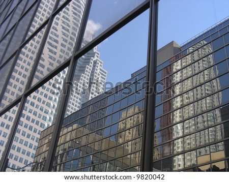 Building reflected in buildings, reflected in buildings - triple reflections in downtown Toronto.