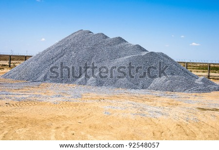 building rubble dump on industrial site - stock photo