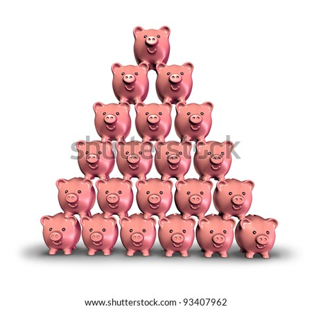 Building Savings and making money by saving your finances as a stack of pink ceramic piggy banks built in the shape of a pyramid as a symbol of growing investments and lifting your financial future. - stock photo