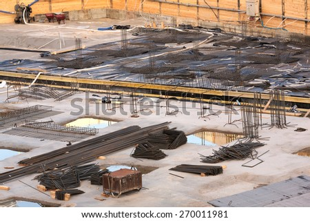 Building site reinforcement on floor slab and foundation engineering - stock photo